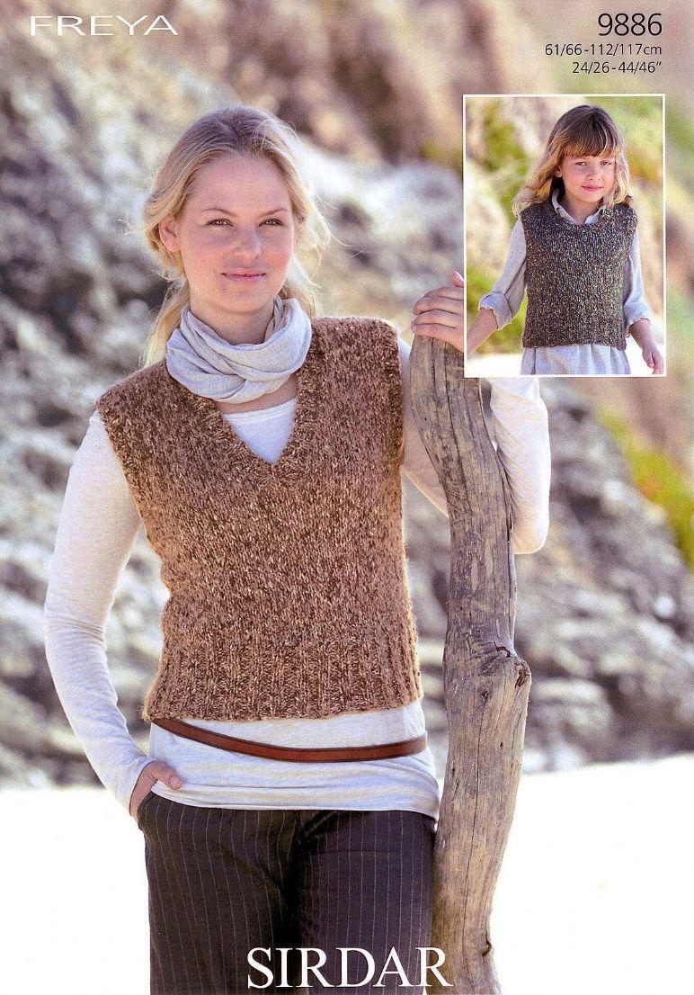 9886 Sirdar Freya Chunky Tank Top Knitting Pattern To Fit Chest