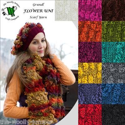 Grundl Flower Uni Chunky Knitting Yarn 100g Free Scarf Hat Pattern
