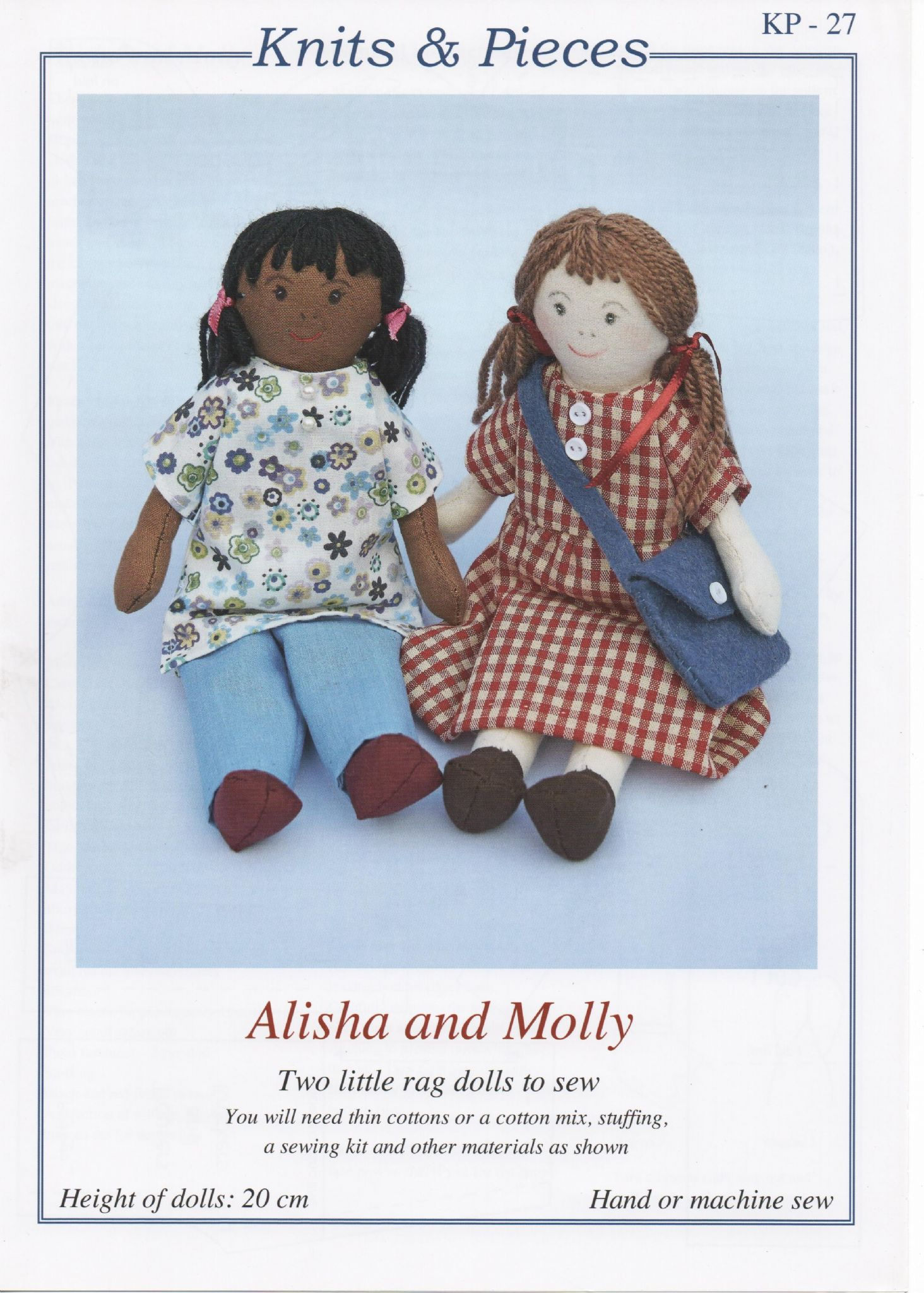 KP-27 KNITS & PIECES ALISHA & MOLLY TWO LITTLE RAG DOLL PATTERN